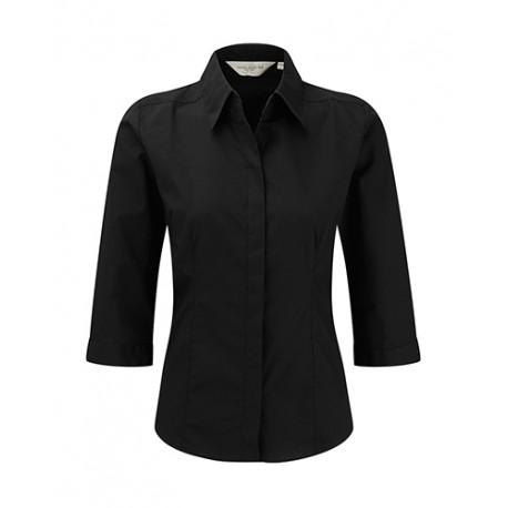 3/4 sleeve Poplin Shirt  Zwart