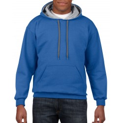GILDAN SWEATER CONTRAST HOOD RoyalBlue/Grijs